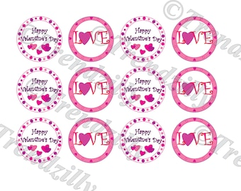 Valentine Gift Tag, Heart Cupcake Topper, Valentine's Day Party Decor, Love Topper, Sticker, Gift Tag, Printable Instant Download.