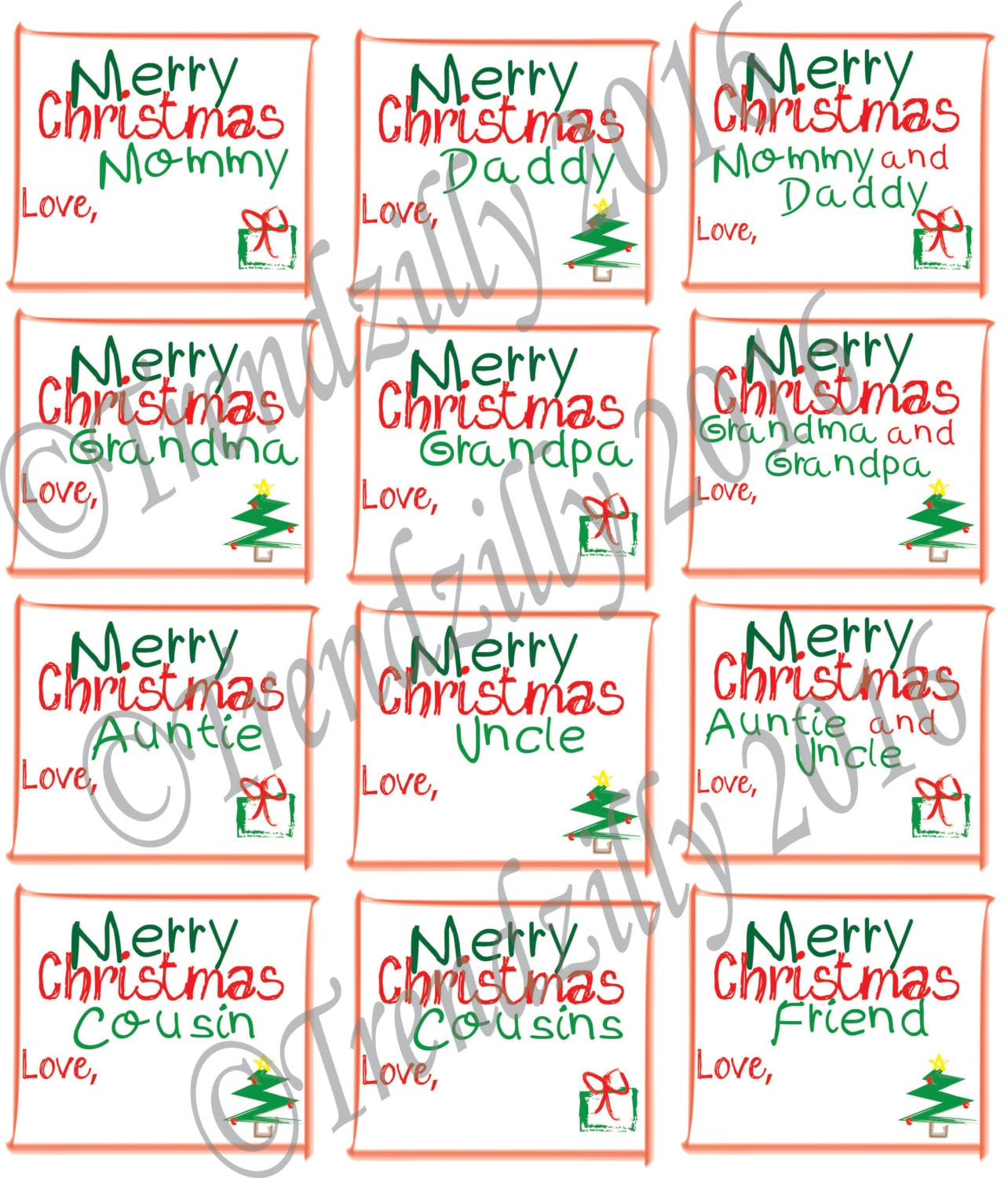 Christmas Gift Tags Kid Gift Tags Christmas Gift Tags For Kids