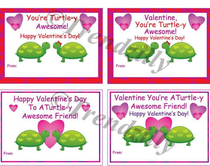 Turtle Valentine, Printable Kids Valentine Cards, Valentines Day Card, Valentine's Day, Girl Valentines, Turtle, Instant Download (Set of 4)
