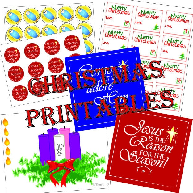 christmas printable pack happy birthday jesus toppers stickers