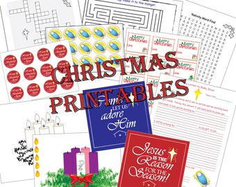 Advent Activities for Kids, Christmas Printable Pack, Happy Birthday Jesus Toppers, Stickers, Christmas Gift Tags, Advent Weath, Graphics.
