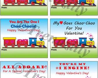 Kids Printable Valentines, Boy Valentines, Kids Valentine, Train Valentines, Choo Choo Train, Instant Download. Set of 6