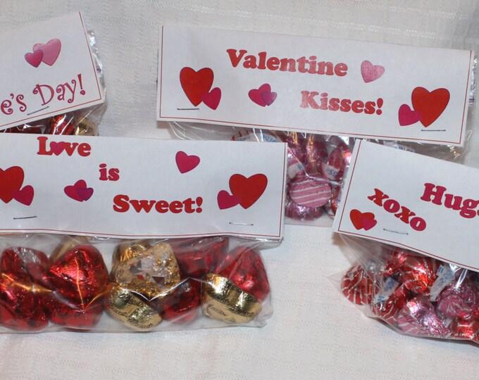 Hugs & Kisses Valentine, Kids Valentine Cards, Bag Topper Valentine, Valentine's Day, Printable Valentine, Bag tops, Instant Download.
