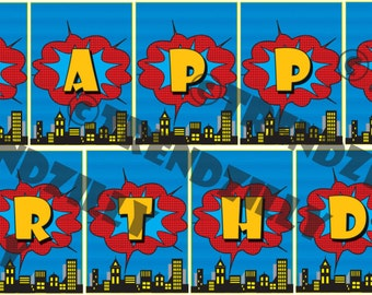 Superhero Birthday Banner, Comic Book Banner, City Scape Banner, Personalized Banner, Printable Instant download, Happy Birthday Banner.