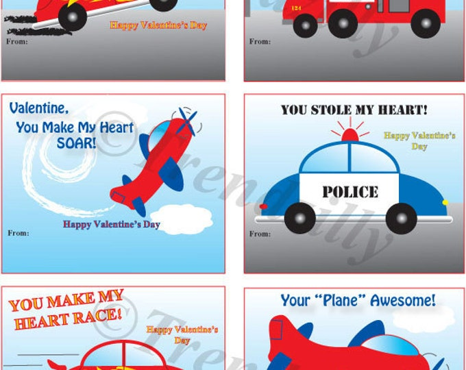 Kids Printable Valentines, Boy Valentines, Kids Valentine, Air Planes, Race Cars, Fire Trucks, Police Cars, Instant Download. Set of 6
