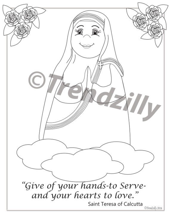 Mother Teresa Of Calcutta Coloring Page And Holy Cards Kids Feast Day Trading Printable Download