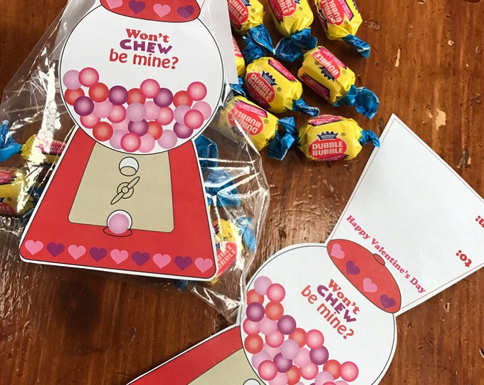 Kids Printable Valentine, Bubble Gum Bag Topper Valentine, Gum Ball Valentine, Won't Chew be mine, Valentine's Day, printable Download