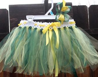 Oregon Ducks Tutu, Green and Yellow tutu, Team tutu, fits size 18mon-2t