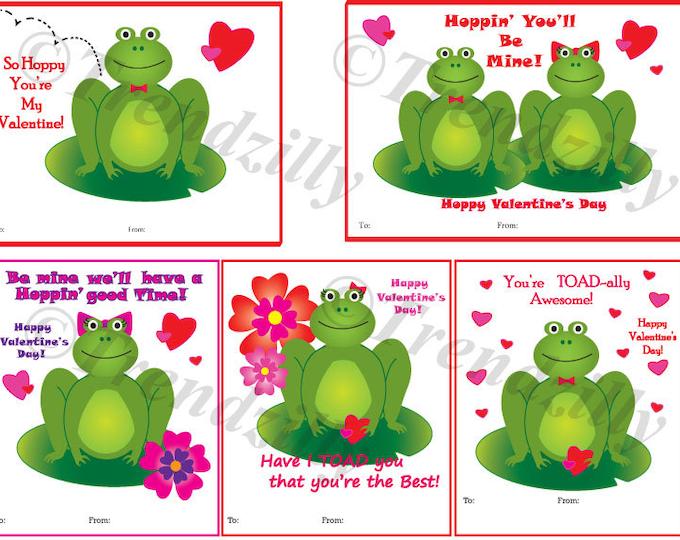 Frog Valentines day card, Kids Valentines, Toad Valentine, Printable Valentine,  Instant Download, Printable Cards, Valentine's Day.
