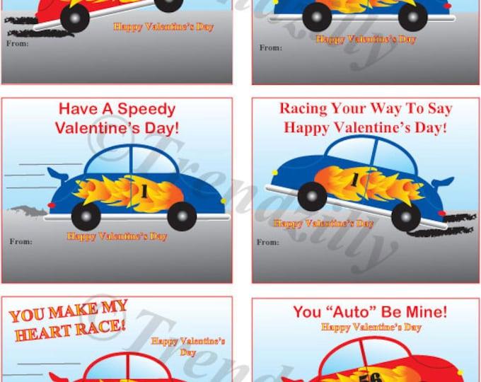 Printable Valentines, Race Car Valentines, Valentine's Day, Boy Valentines, Valenitne's Day Card. Personalizable Instant Download.
