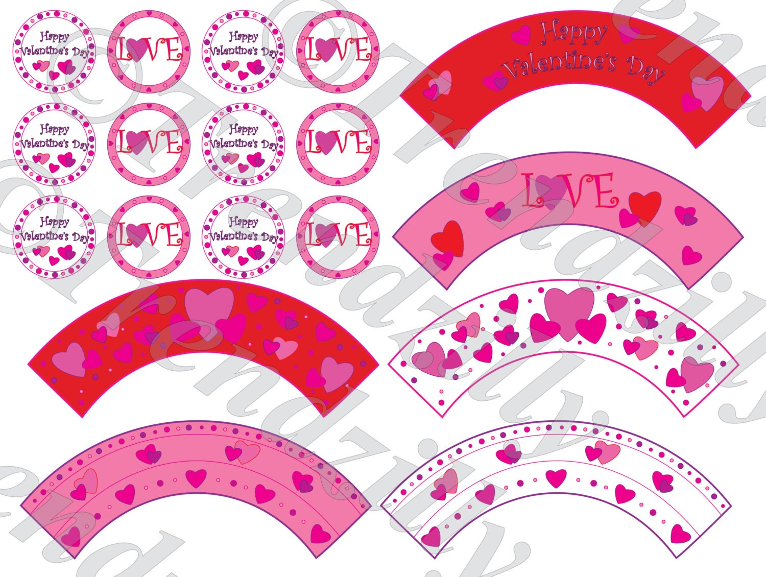 photograph relating to Valentine Stickers Printable identify Valentine Cupcake Wrapper and Toppers, Centre Valentines