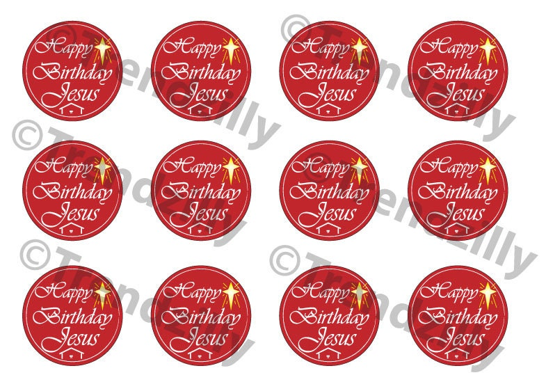 Christmas Toppers For Cupcakes.Happy Birthday Jesus Cupcake Topper Happy Birthday Jesus
