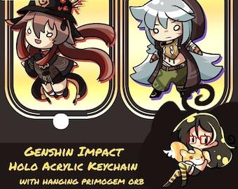 Genshin Impact Holo Acrylic Keychain with Hanging Primogem Orb!