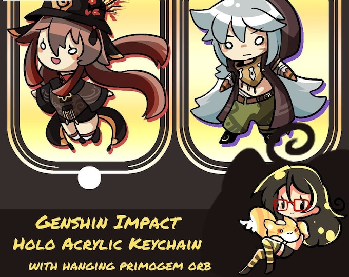 Featured listing image: Genshin Impact Holo Acrylic Keychain with Hanging Primogem Orb!