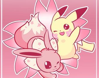 Sakura Eevee and Pikachu Single Sticker Sheet