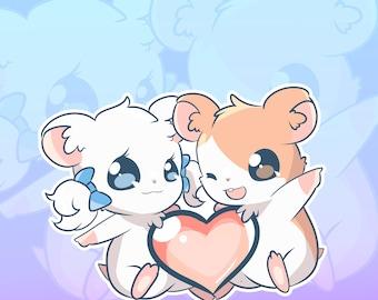 Hamtaro and Bijou Single Sticker Sheet