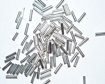 1.5 x 6mm Silver Tube Beads 100+ pieces (3020029)