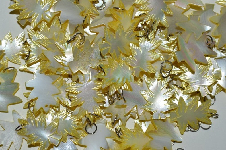 Vintage Mother Of Pearl Carved Leaves with Silver Tone jumpring bails 10 PC Lot 1060080