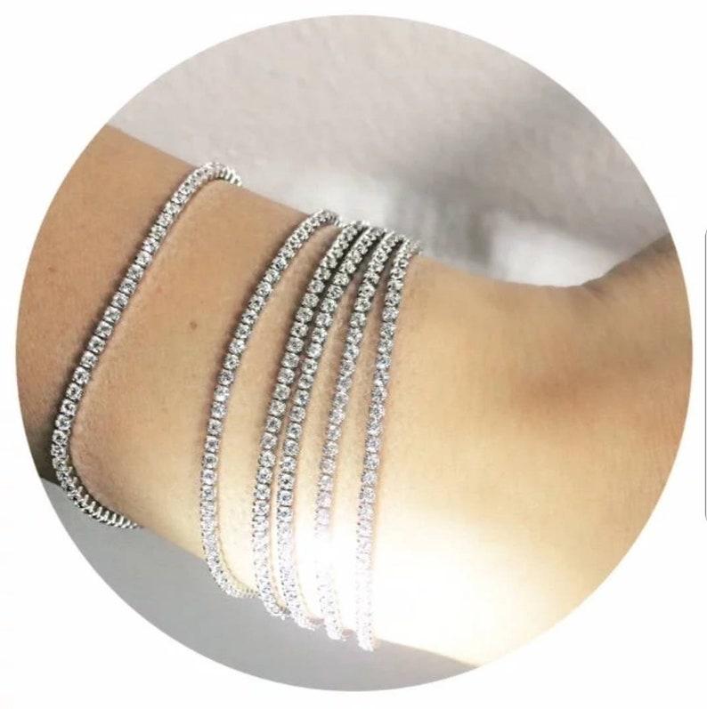 Silver Isla Tennis Bracelet Set of Stacks x2 Bracelets
