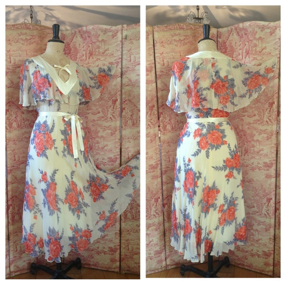 Gorgeous vintage 70s does 1930s 20s floaty roses f