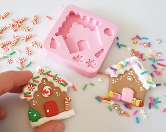 Gingerbread house and details So cute. Multi-Project Silicone mold. FREE SHIPPING USA Christmas. Silicone mold Multi Project MS048