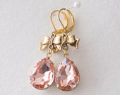 18th Century Reproduction Peach Pink Rhinestone Bow Drop Earrings. Champagne Paste Glass. Rococo, Georgian, Regency, Historical.