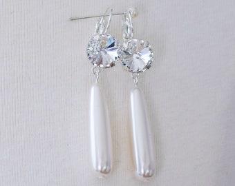 "18th Century Reproduction Crystal ""Diamond"" Rhinestone Pearl Drop Earrings. Rococo, Colonial, Regency, Victorian, Historical, 19th Century."