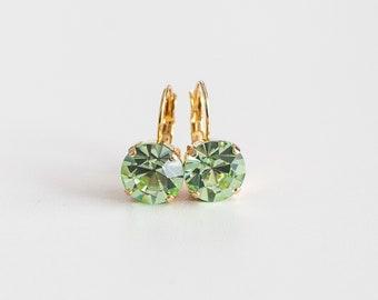 Peridot Rhinestone Earrings. Green Chrysolite Paste Glass. 18th Century, Rococo, Colonial, Georgian, Regency, Historical.