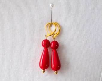 Regency/18th Century Reproduction Coral-Colored Glass Drop Dangle Earrings. Red and Gold. 19th Century, Georgian, Victorian, Historical.