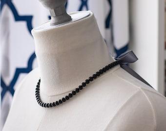 Regency Reproduction Black Obsidian Ribbon Tie Necklace. Rococo, Colonial, 18th Century, 19th Century, Georgian, Historical.