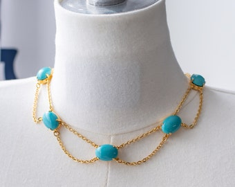 Regency Reproduction Turquoise and Gold Chain Festoon Necklace. Georgian, Colonial, 18th Century, 19th Century, Victorian, Historical.