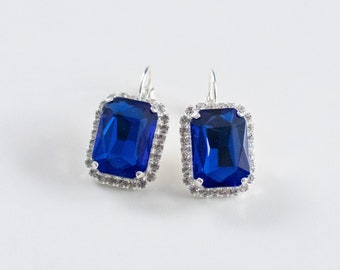 Sapphire and Crystal Rhinestone Earrings. Blue Paste Glass and Silver. 18th Century, Rococo, Colonial, Georgian, Regency, Historical.