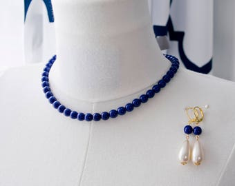 Regency Reproduction Blue Ribbon Tie Necklace and Matching Pearl Earrings. Lapis-Colored Glass.  Georgian, Colonial, 18th Century, 19th C.