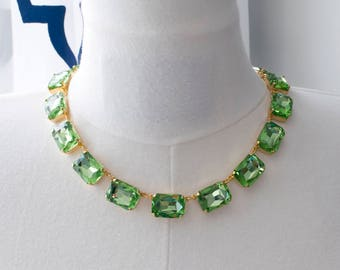 18th Century Reproduction Light Green Rhinestone Collet Necklace. Peridot Paste Glass. Regency, Rococo, Colonial, Georgian, Historical.