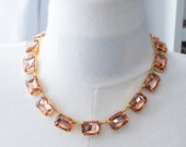 18th Century Reproduction Peach Rhinestone Collet Necklace. Light Pink Paste Glass. Regency, Rococo, Colonial, Georgian, Historical.
