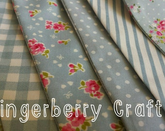 Bunting - blue grey floral gingham spots shabby chic party wedding duck egg