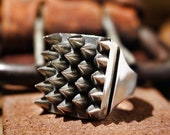 925 Sterling Silver Spikes Ring studded ring silver horn ring punk ring gothic ring goth ring heavy metal ring biker ring