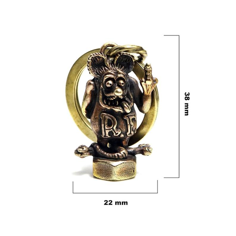 Solid Brass rat fink keyring / hotrod keychain / ratrod keyring / brass  chopper keychain / biker jewelry / vintage brass keyring