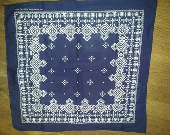 Vintage Indigo Blue Bandana Handkerchief