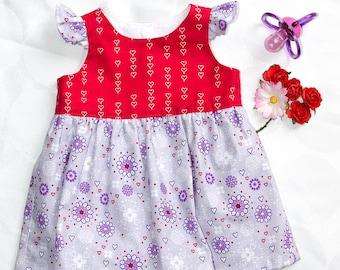 DRESS, ROMPER, BABY, Size 0000, Newborn, Flowers, Hearts, Nappy Pants, Diaper pants, Cotton Poplin,