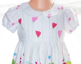 DRESS, Girls, Toddler, FLOWERS, Size 2,  100% cotton, DESIGNER, Approx age 2+, White border print, Floral, Unique, Snap fastening,