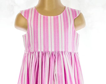 DRESS, TODDLER, STRIPES, Open Back, Shaped back, Twirly skirt,  Candy stripes, Pink and white, Size 2, Soft Cotton weave, 2 - 3 yrs,