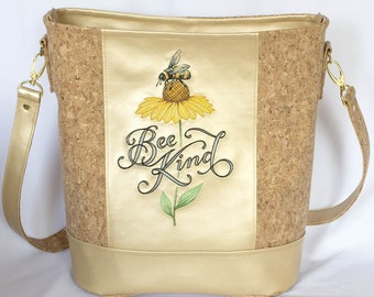 SHOULDER bag, BUCKET bag, Tote,  FAUX leather, Cork, Embroidery, Bee