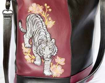 SHOULDER bag, BUCKET bag, Crossbody, Tote,  FAUX leather, Tiger, Black, Burgundy, Embroidery