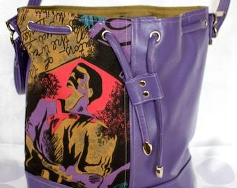 Shoulder bag, BUCKET bag, Drawstring, FAUX/Vegan leather,  PURPLE,  Silver toned hardware, Tote, Vintage Cotton, 80's