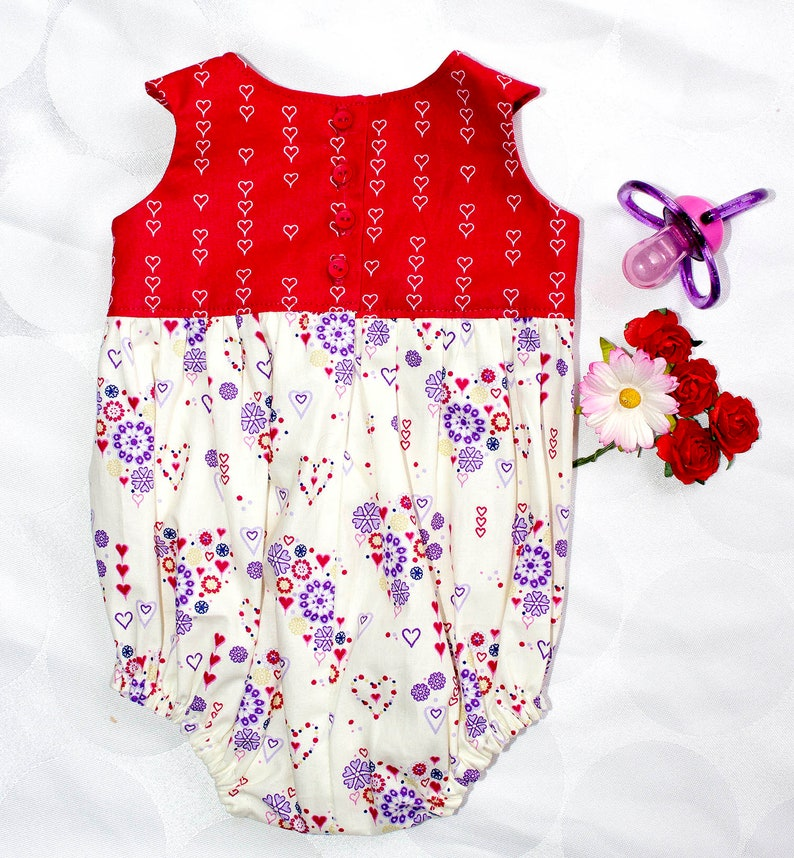 Playsuit Hearts ROMPER NEWBORN Purple Flowers Red Baby PREEMIE All in One Bodysuit Size 00000