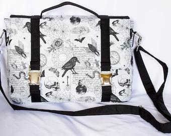 MESSENGER bag, Shoulder bag, Briefcase style, Side Release Buckles,  Silver Hardware, DESIGNER cotton, GOTHIC, Alchemy, Ravens, Skulls