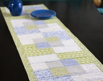 Blue and green modern quilted table runner