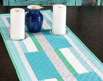 Modern blue, white and green quilted table runner