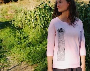 Pastel Roze Sweater Vrouw - Dier Print Wezel - Fair trade kledij vrouw Ecologisch - Zomer Sweater vrouw - Brede Ronde Hals - ArtEffectPrints